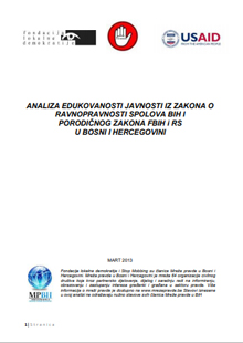 Analysis of Public Education on Gender Equality Laws of BiH and Family Law of FBiH and RS In Bosnia and Herzegovina